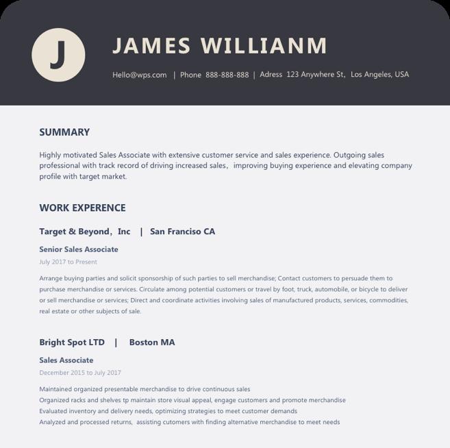 Resume template create